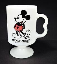 Mickey Mouse Retro Vtg Cup Footed Milk Glass USA Irish Coffee Mug