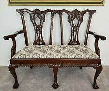 Chippendale Style Hand Carved Solid Mahogany Ball Claw Settee Needlepoint
