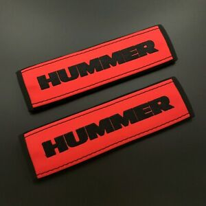 Hummer Red Seat belt covers pads Black embroidery 2PCS