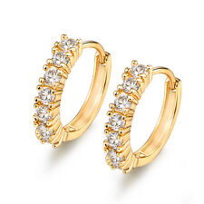 Vintage Style Gold Filled Diamond Clear Topaz Huggies Lady Wedding Party Earring