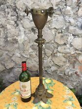 French Antique Brass Candle Stick Gas Altar Large Church Heavy Brass Copper Gold