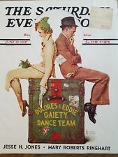 1937 Saturday evening post front cover only Norman Rockwell Dance Team Art ad