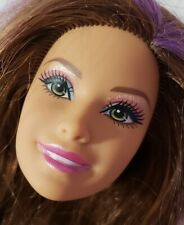 BARBIE DOLL HEAD ONLY FOR OOAK CUSTOM TERESA HISPANIC SIDE PART PURPLE STREAKS