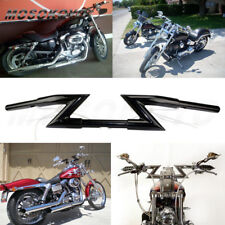 "New 1"" Black Crazy Z Bars Handlebars Harley Springer Chopper Bobber Custom Mos"