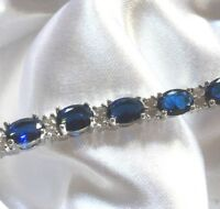 "GB 7-8"" Silver WHITE GOLD Fill Blue Sapphire Sim Diamond Adjustable Bracelet"