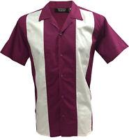 Rockabilly Fashions Men's Shirt Retro Vintage Bowling 1950 1960 Aubergine White