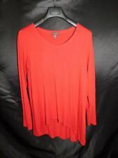 Eileen Fisher M Red Jersey Knit Shirt Assymetric Hem Tunic Long Sleeve Viscose