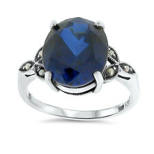 .925 Sterling Silver Ring Size 5, #38 6 Ct Lab Sapphire Antique Victorian Design