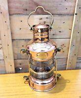 Ship Lantern Boat Light Brass & Copper Anchor Oil Lamp