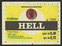 ALT ! DDR Bieretikett, GK Berlin : VEB VgC Betriebsteil Lübben im GK Cottbus