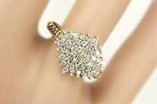 9ct Gold .50c Genuine Diamond Marquise / Navette Cluster Ring. Size J,1/2. NICE1