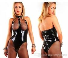 Black bodysuit Romper with chains clubwear PVC wet look, sexy, party Size M.....