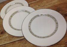 Springdale Lenox 3 Dinner Plates Platinum Trim Off White Vintage Yellow Flowers