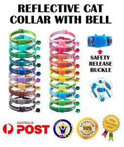Reflective Cat Kitten Collar Safety Release Breakaway Buckle Adjustable Bell