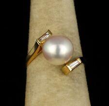 MIKIMOTO FLAWLESS COLORLESS NATURAL DIAMOND 8.8MM AKOYA PEARL 18K GOLD RING