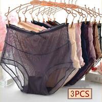 3 X Women Sheer Briefs Panties Plus Size High Waist Underpants Underwear Knicker