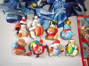 CHRISTMAS SANTA & FRIENDS PARACHUTES KINDER SURPRISE FIGURES - XMAS DECORATION
