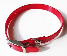 Red high gloss dog collar small / puppy 12mm strong biothane leather substiute