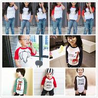 Toddler Kids Baby Boy Girl Print T-shirt Long Sleeve Tops Clothes Autumn Shirts