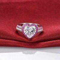 1.60Ct Heart Cut Diamond Halo Women's Engagement Ring Band 14k White Gold Finish