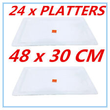 24x White Melamine Serving Tray Rectangle Platter Catering Trays 48cm X 30cm FW