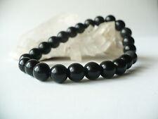 Bracelet élastique en obsidienne noire 8 mm (AA) - noir pierre gemme naturelle