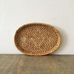 Vintage Woven Coiled Wicker Basket Rattan Fruit Bowl Display Boho Storage Tray