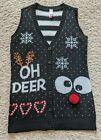 Junior Womens Ugly Christmas Sweater Vest Oh Deer Bells Buttons PomPom Sz M 7-9