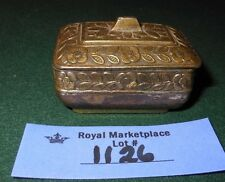 Vintage Metal Trinket Pill Dresser Ring Box Casket Style Japan