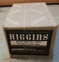 New Old Stock VINTAGE LOT OF 6 FOUNTAIN PEN INK Brick Red HIGGINS Glass Bottles