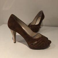 NEW Gibellieri Shoes Heels Pumps Brown Leather 37 $249 Wooden Heel Sexy Designer