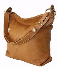 ital Handtasche Ledertasche Damentasche Schultertasche echt Leder Tasche cognac
