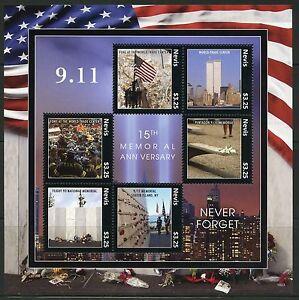 NEVIS 2016 15th MEMORIAL ANNIVER SEPTEMBER 11, 2001 NEVER FORGET SHT II MINT