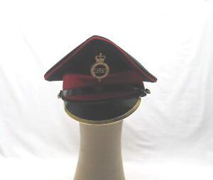 old used military uniform  black & red ER peaked cap hat
