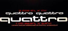 (3pcs) Fits Audi Quattro Die Cut Vinyl Decals 1- 22.5x2.5 2- 9X1. Many Colors