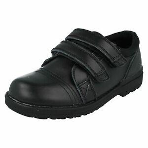 JCDees Boys School/Formal RipTape Fastening Black Shoes N1R052  (KR)