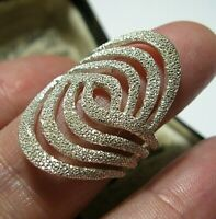 Sterling Silver Big Beautiful Sparkly UK Hallmarked Statement RING Size P 7.5