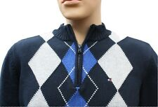 Tommy Hilfiger Sweater Half Zip Diamond Pattern Blue White Navy Medium Kid's