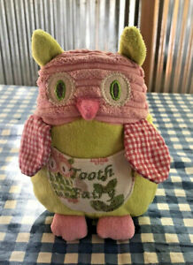 """Maison Chic Owl Plush TOOTH FAIRY Pocket Stuffed 6"""" Lost Tooth Pillow Small"""