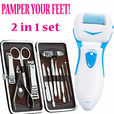 Pro Pedicure Pedi Kit Electronic Foot File Hard Dead Skin Care Callus Remover