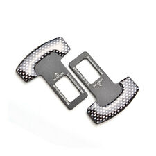 2pcs/Set Car Seat Belt Black Carbon Fiber Plug Buckle Stop Alarm Canceller Clip