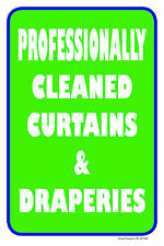 "Professionally Cleaned Curtains 12""x18"" Store Retail Dry Cleaner Counter Sign"