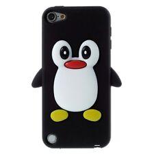 Apple iPod Touch 5 6 Silikon Handy Tasche 3D Pinguin Soft Flexibel Cover Schwarz