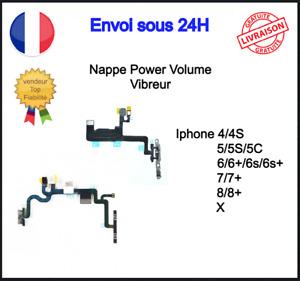 Nappe Bouton Power Volume Vibreur Flash Iphone 4 4S 5 5C 5S 6 6S 7 8 X XR Plus