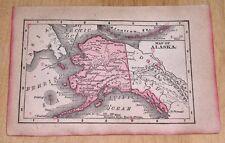 "1900 ANTIQUE TINY 5"" x 3.5"" MAP OF ALASKA YUKON CANADA"