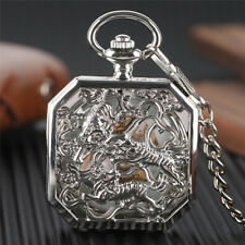 Silver Tiger Pendant Stainless Steel Hand Wind Mechanical Pocket Watch Chain