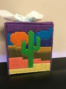 Handcrafted Tissue Box Cover - Cactus Moon theme.   Bargain Priced To Sell- One