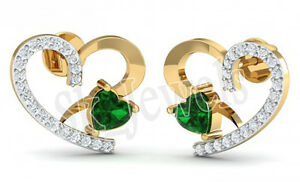 0.85ctw NATURAL ROUND DIAMOND EMERALD 14K SOLID YELLOW GOLD WEDDING STUD EARRING