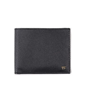 New TOM FORD Black Woven Texture Leather Bifold Wallet with Gold Logo