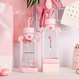 Glass water bottle cherry blossom pattern transparent creative fresh cute girl